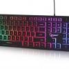 Tastatura multimedia Gembird, Iluminare RGB, Negru